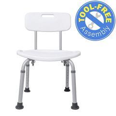 Shower Chair with Back, Best Bathtub Chair for Handicap, Disabled, Seniors & Elderly - Adjustable Medical Bath Seat Handles for Bariatrics - Non Slip Tub Safety,White