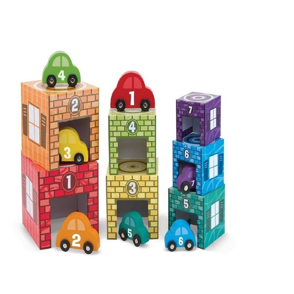 Melissa and Doug Nesting and Sorting Garages and Cars Play Set