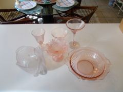 Made in Italy Pink Art Glass goblets, bowls wine glasses and dinnerware