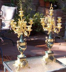 Two (2) Italian Brevettato Brass & Marble Candelabras