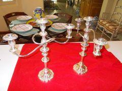 Twisting triple silver plate candelabras (2) two