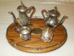 Antique EPNS Silver Plate four (4) part tea set with wood tray