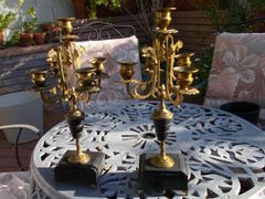 Two (2) small 5 candle brass table top candelabras