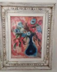 Barbara A. Wood, Blue Flower Vase (Original Oil)