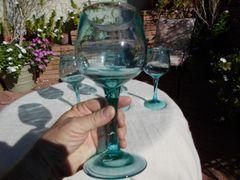 "9"" Tall Hand Blown Green Tint Wine Glass"