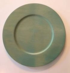 "Green Stained 14"" diameter solid wood Charger plates (Set of 12)"
