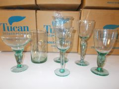 "Hand-Blown Mexican Tuscan International ""Bubble"" art glasses (60 pieces)"