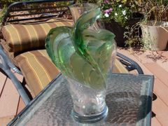 LaLique France Tanega clear and green crystal 14 inch vase.