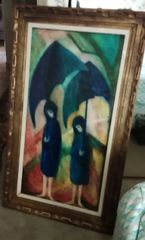 Barbara A. Wood, Two Girls under Umbrellas (Original Oil)