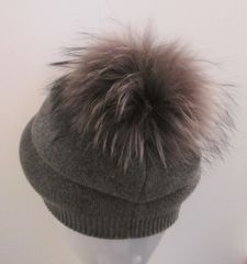 Hat - Cashmere Blend Knitted Beanie Skull with Genuine Full Fox Fur Pom Pom Unisex Fun Couture