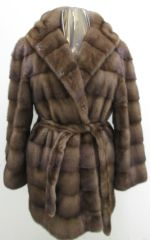 Mink Fur Coat - Gorgeous Horizontal Genuine Hooded Mink Stroller Fur Coat