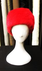 Headband - Bright Red Genuine Rex Fur Headband, One Size Fits All