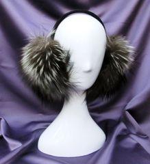 Earmuffs - Full & LargeNatural Silver Fox Fur Earmuffs, One Size Fits All