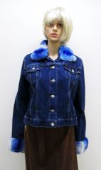 Chinchilla Rex Jacket - Classic Levi Denim Jacket with Blue & White Genuine Chinchilla Rex Collar & Cuffs