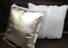 Pillows - Genuine White Mink Fur & White - Gold Leather Pillows