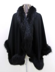 Wrap, Shawl, Cape - New Cashmere, Wool Blend & Black Fox Trim All Around