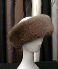 Headband - Genuine Fox Fur Headband, Light Brown, One Size Fits All