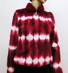 Lapin Fur Jacket - Genuine Lapin (French Rabbit) Fur Jacket, Bright Shades of Reds & Whites