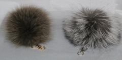 Key Chain - Genuine Big & Fluffy Fox Fur Pom Pom Key Chain