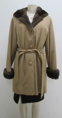 """Mink Fur Coat - Yes to Hood! Genuine Sheared Mink Lined Stroller Coat, Size 10-12, """"PL"""" Collection Piece"""