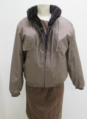 Mink Fur Jacket - 3 in One New Reversible Removable Mink Lined & Trimmed Jacket. Mink Lining Is Also a Reversible Vest