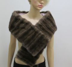 Boa, Stole, Wrap, Scarf - Rich Genuine Mink Scarf, Pink Satin Lining