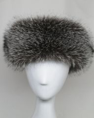 Headband - Genuine Silver Indigo Fox Fur Headband