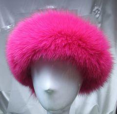 Headband - Super Soft Genuine Full Fox Headband in Bright Colors ie Fuchsia