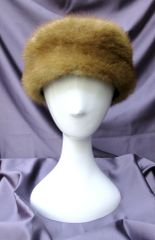 Headband - Sable Shade Genuine Mink Fur Headband Accessory, One Size Fits All
