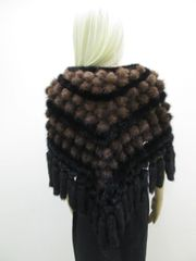 Stole, Shawl, Wrap - Creatively Exquisite Genuine Mink Fur Stole, Shawl, Wrap with Mink Balls & Tassels