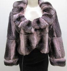 "Chinchilla Rex Fur Jacket - Soft Sexy Natural & Pink Genuine Chinchilla Fur Jacket, ""PL"" Collection Piece"