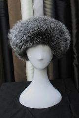 Headband - Supple Natural Silver Fox Fur Headband Accessory, One Size Fits All