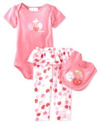 Baby Togs Baby Girls Cherry 3 Piece Bib Set