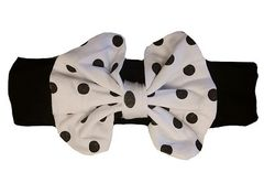 "5"" BOUTIQUE BOW HEADBAND- BLACK POLKA DOT"