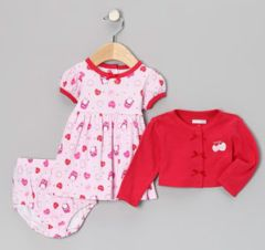 Vitamins Baby 3-Piece Cardigan Dress Set Hugs & Kisses