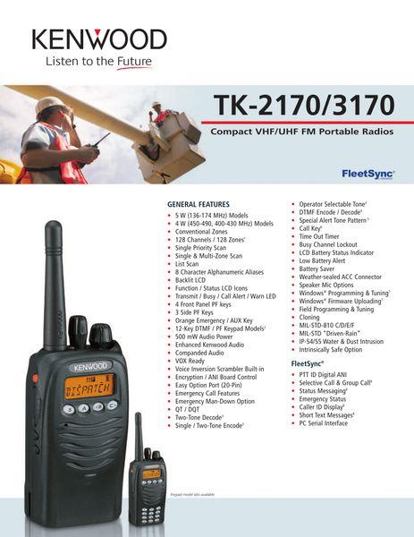 TK-2170/3170 Compact VHF/UHF FM Portable Radios
