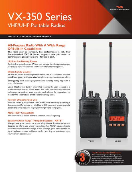 VX-350 Series VHF/UHF Portable Radios