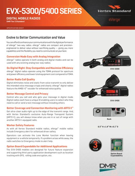 EVX-5300/5400 SERIES DIGITAL MOBILE RADIOS