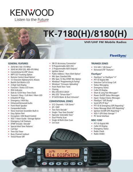 TK-7180(H)/8180(H) VHF/UHF MPT1327 Trunked Mobile Radios