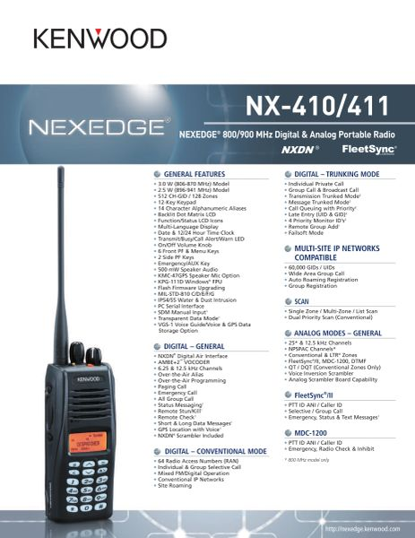 NX-410/411 NEXEDGE® 800/900 MHz Digital & Analog Portable Radio