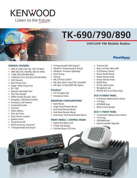 TK-690/790/890 VHF/UHF FM Mobile Radios