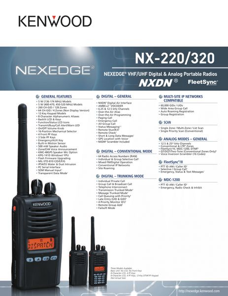 NX-220/320 NEXEDGE® VHF/UHF Digital & Analog Portable Radios