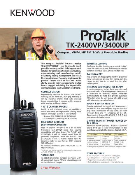 Protalk TK-2400VP/3400UP Compact VHF/UHF FM 2-Watt Portable Radios