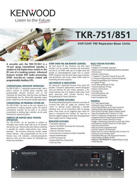 TKR-751/851 VHF/UHF FM Repeater-Base Units