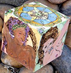 """Goddess Offering #2"" - Pyrographic Art Cube"