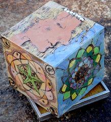 """Diamond Ladies"" Pyrographic Art Cube"