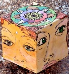 """""""The """"Eyes"""" Have It!"""" - 3"""" Pyrographic Art Cube"""