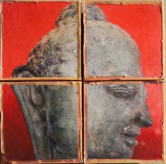 """""""Red Om Buddha Quad"""" Eucaustic Buddha Box"""