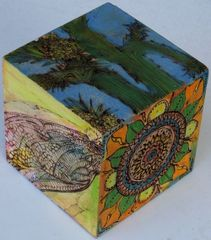 """Pyrographic """"Paperweight Art Cube #2"""""""