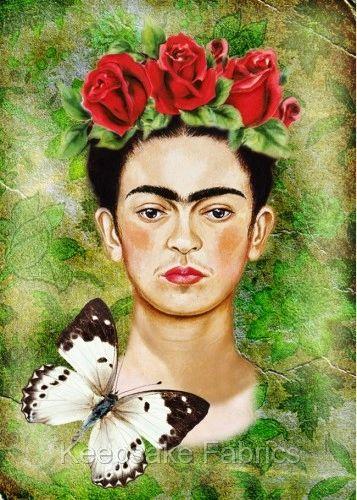 Frida Kahlo Red Rose Collage Fabric Crazy Quilt Block V4